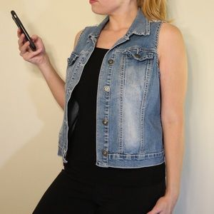 Maurice's Denim Vest with Lace